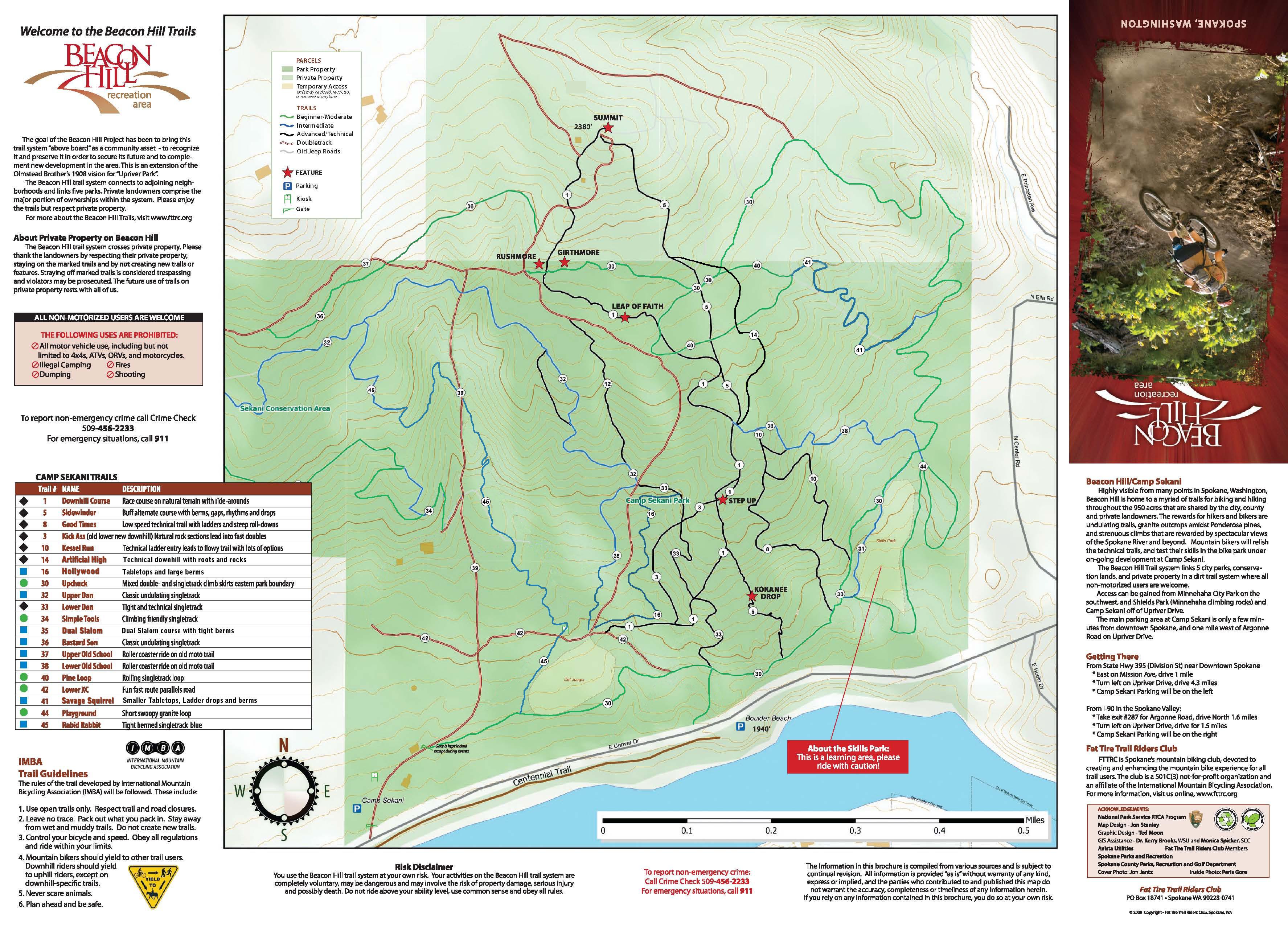 camp sekani mountain bike trail map. camp sekani  beacon hill trail map  evergreen east mountain bike