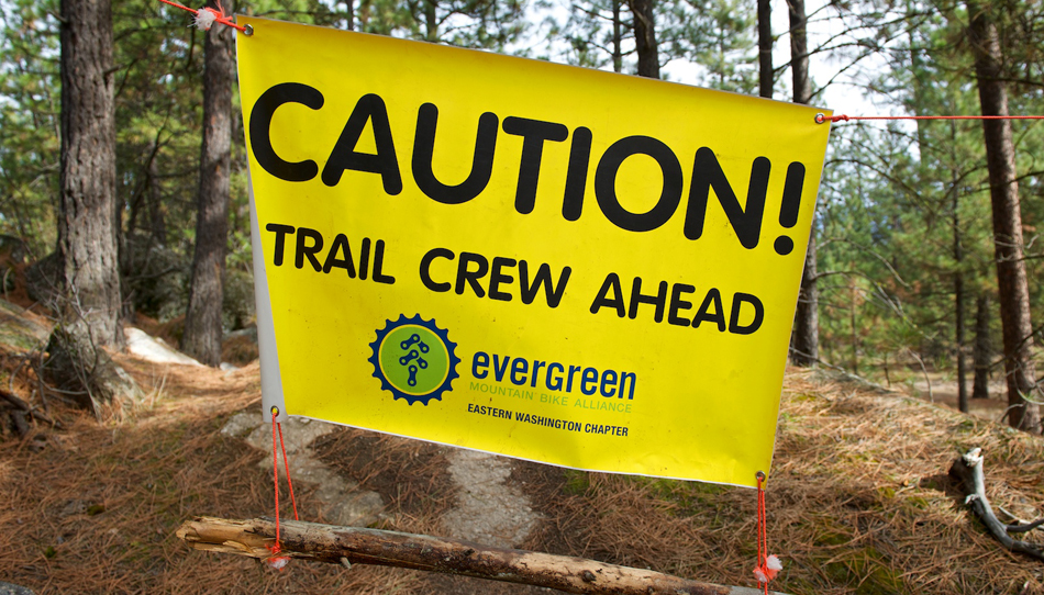 Trail Crews Ahead Sign at Camp Sekani.
